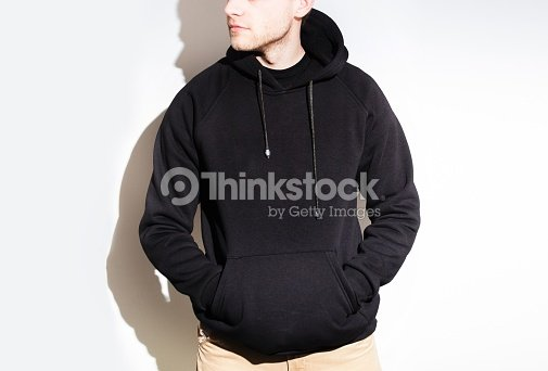 Man Guy In Blank Black Hoodie Sweatshirt Mock Up Isolated Pl Stock ... 419ad14f4