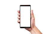 man hand holding black smartphone isolated on white clipping path inside