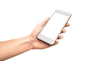 Man hand holding the white smartphone with curved edges, isolated on white background, blank screen