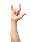 Man hand rocker on Isolated white background. Hand giving the devil horns gesture
