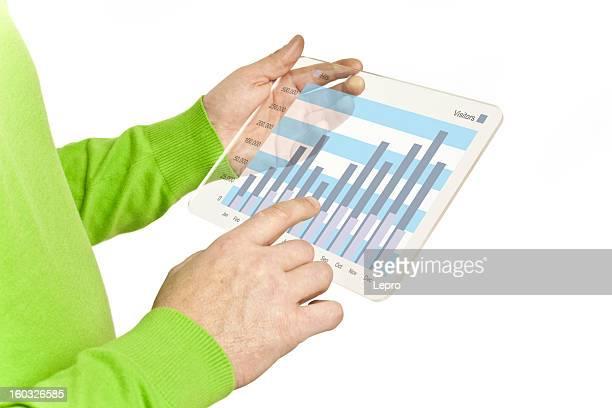Man hands using tablet computer