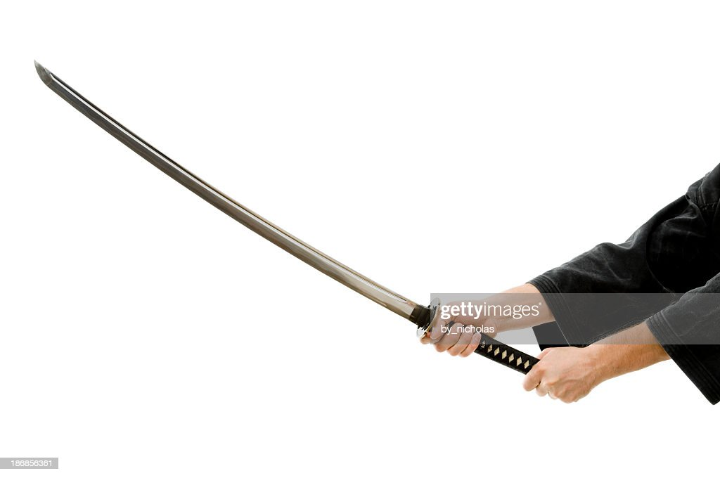 'Man hands with katana, isolated on white'