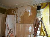 Man hanging wallpaper