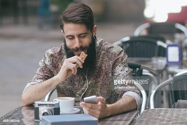 Man having a coffee break