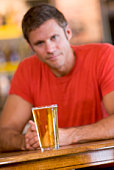 Man having a glass of beer