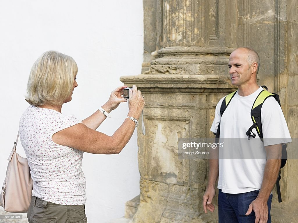 Man having photograph taken : Stock Photo
