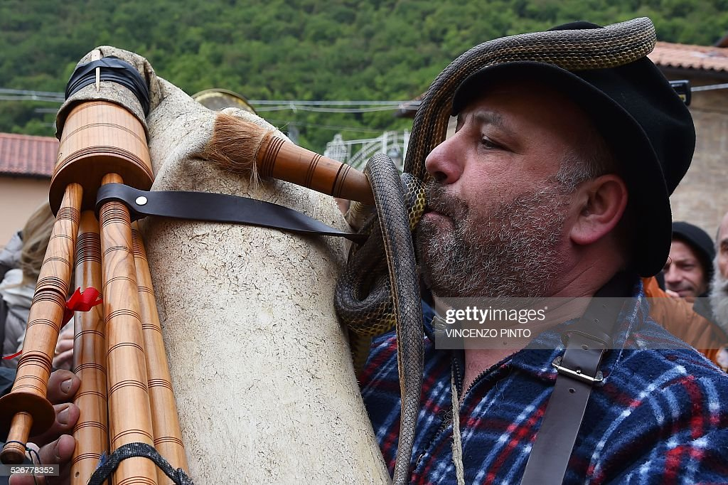 A man having snakes on him plays a traditional instrument before the annual procession of faithful carrying a statue of Saint Domenico covered with live snakes in the streets of Cocullo, a small village in the Abruzzo region, on May 1, 2016.