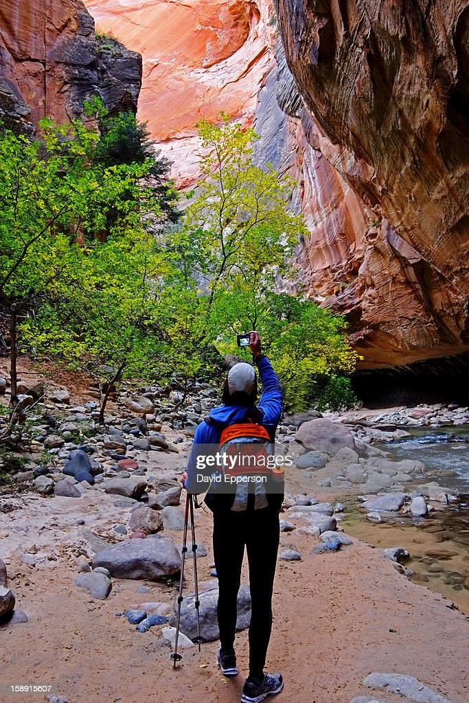 Man hiking in The Narrows in Zion National Park : Stock Photo
