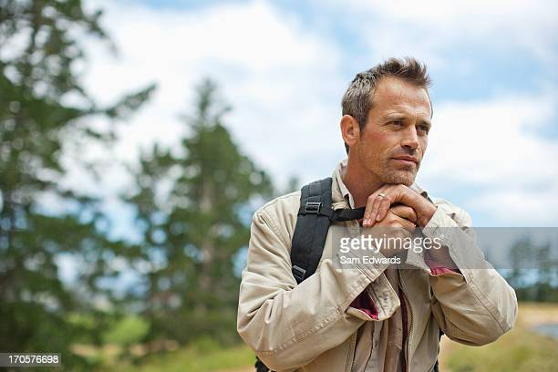 Man hiking near remote area