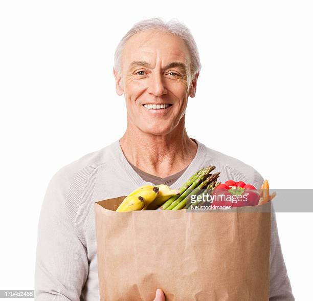 Man Holding a Bag Of Groceries - Isolated