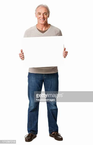 Man Holding a Blank Sign - Isolated