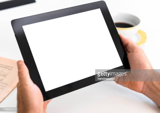 Man holding a new digital tablet