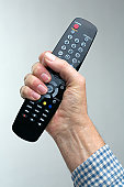 Man holding a TV remote control