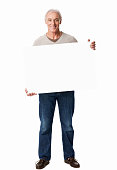 Man Holding a White Blank Sign - Isolated