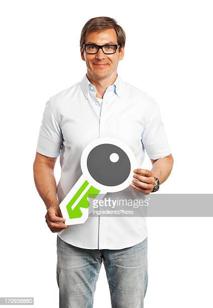 Man holding access key sign isolated on white background.