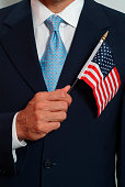 Man Holding American Flag Over His Heart