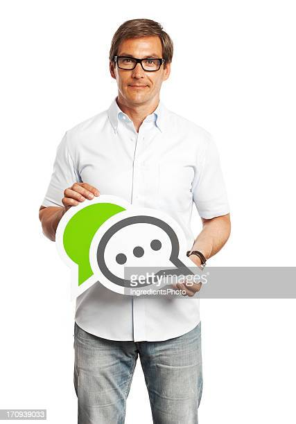 Man holding chat sign isolated on white background.