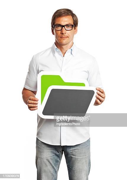 Man holding folder sign isolated on white background.