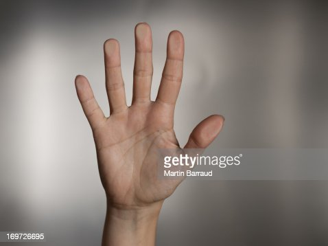Man holding hand out