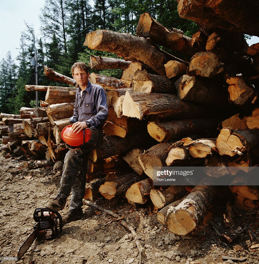 Man holding hard hat with foot on chainsaw in timber yard, portrait : Stock Photo