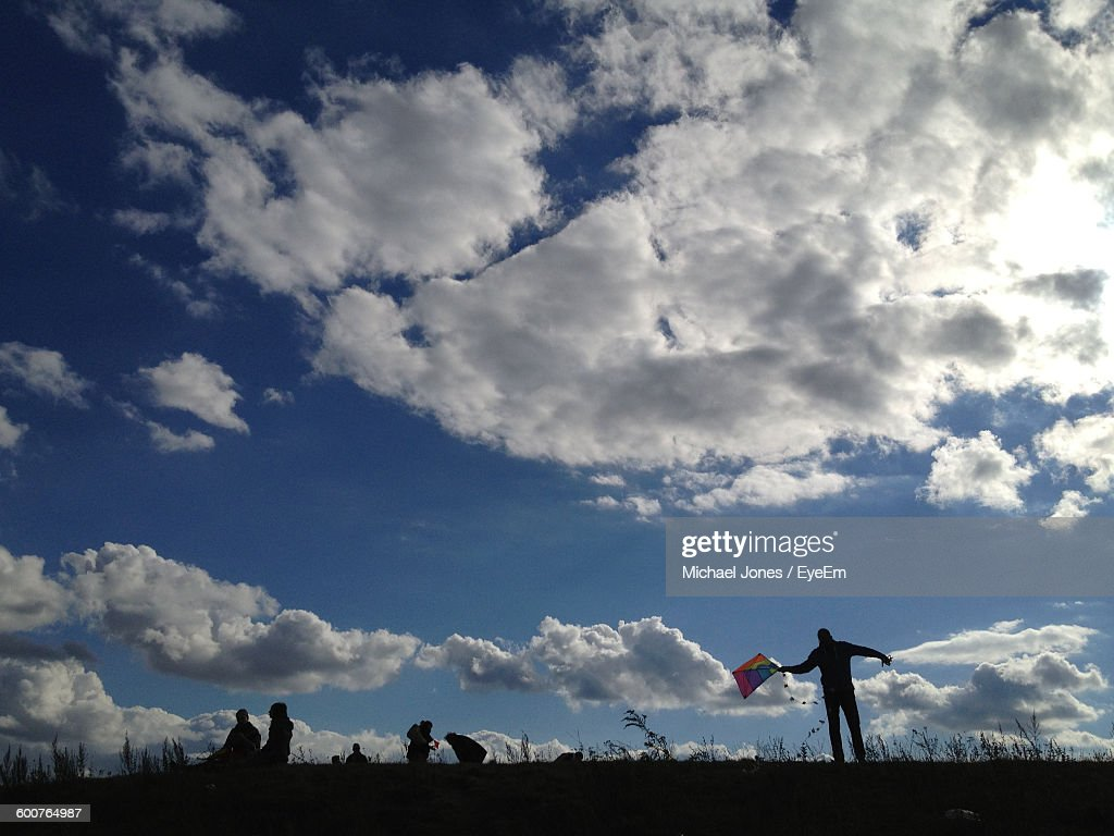 Man Holding Kite While Standing On Field Against Sky