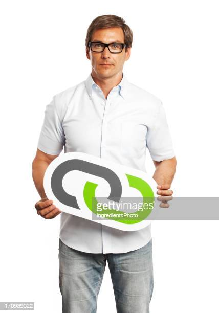 Man holding link sign isolated on white background.