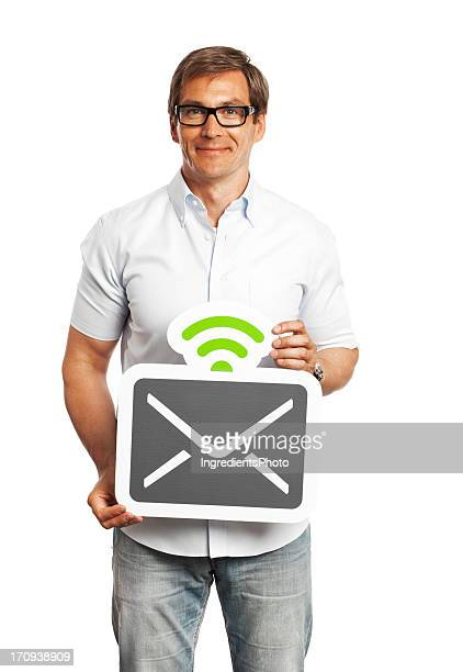 Man holding mail sign isolated on white background.