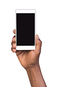 Man holding mobile smart phone with blank screen
