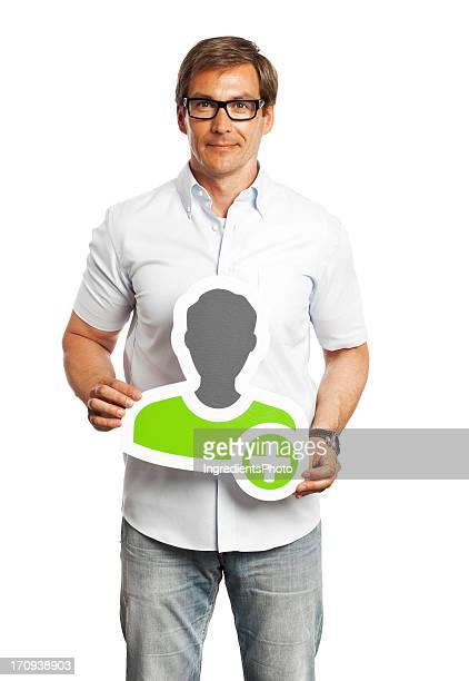 Man holding profile image sign isolated on white background.