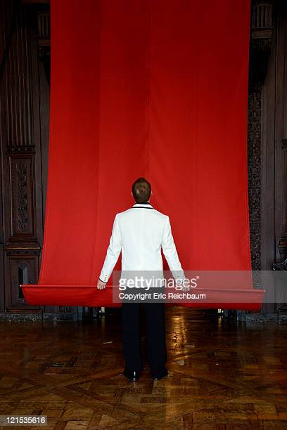 Man holding red banner