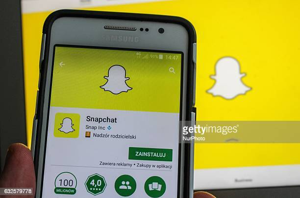 Man holding Samsung smartphone in hand with Snapchat app running is seen in Gdansk Poland on 24 January 2017 Snapchat worth a small fraction of its...