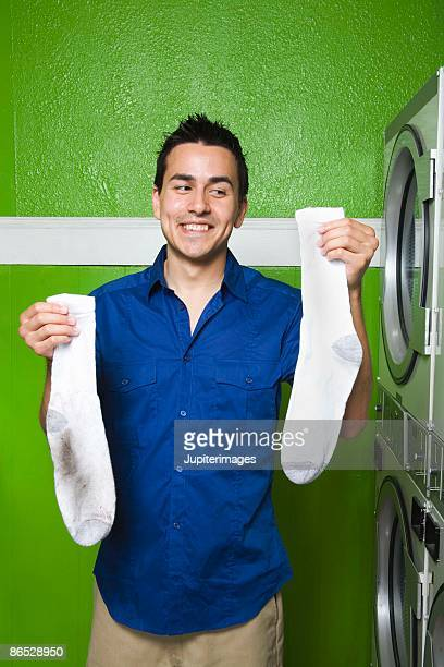 Man holding socks