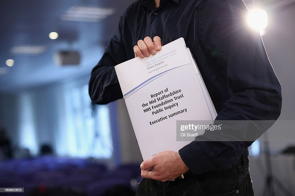 A man holds a copy of the report compiled by Robert Francis QC of the Mid Staffordshire NHS Trust Foundation Public Inquiry on February 6, 2013 in London, England. The report examines the commissioning, supervisory and regulatory bodies in the monitoring of Mid Staffordshire hospital between January 2005 and March 2009. The report will be laid before Parliament at 11:30am today and will consider the reasons why serious problems at the Trust were not identified and rectified sooner, and identify lessons to be learnt for future patient care.