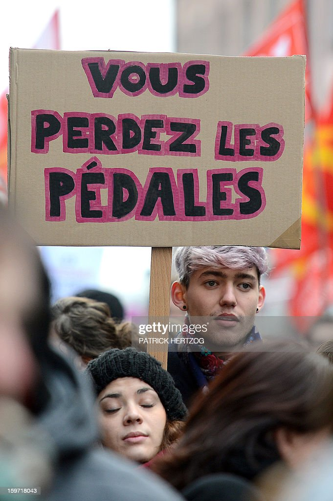 A man holds a placard during a demonstration to support same sex marriages in Strasbourg, eastern France on January 19, 2013.