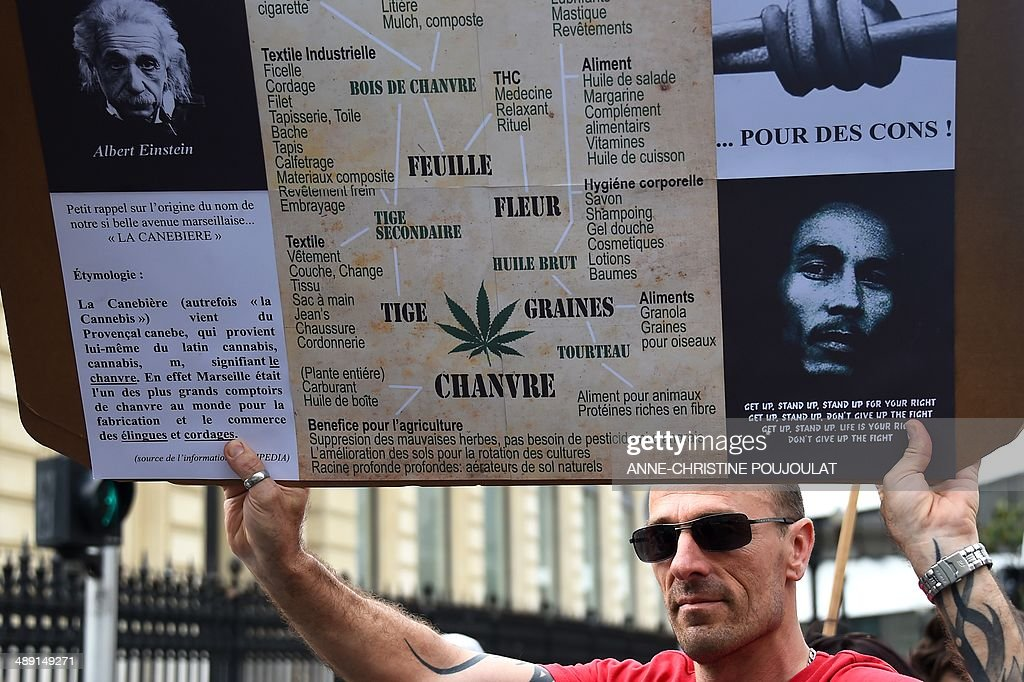 A man holds a placard reading a list of the different uses of hemp during a protest to call for the legalization of marijuana on May 10, 2014 in Marseille, southern France. About 147 million people globally -- or about 2.5 percent of the population -- use cannabis, according to the World Health Organization.