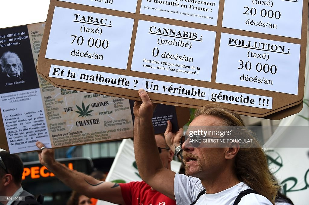 A man holds a placard reading 'Tobacco (taxed) 70 000 deaths per year, Cannabis (prohibited) 0 death per year, Pollution (taxed) 30 000 deaths per year' during a protest to call for the legalization of marijuana on May 10, 2014, at the Old Harbour in Marseille, southern France. About 147 million people globally -- or about 2.5 percent of the population -- use cannabis, according to the World Health Organization.