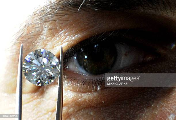 A man holds a rare diamond at the Hong Kong Jewellery and Gem Fair in Hong Kong on September 22 2009 The seven day event which began on September 21...