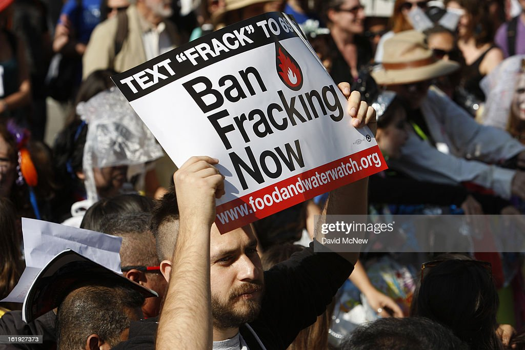 A man holds a sign opposing the practice of fracking at the 'Forward on Climate' rally to call on President Obama to take strong action on the climate crisis on February 17, 2013 in Los Angeles, California. Organizers say the rally, which is led by Tar Sands Action Southern California and Sierra Club, is composed of a coalition of over 90 groups and coincides with similar rallies in Washington D.C. and other U.S. cities.