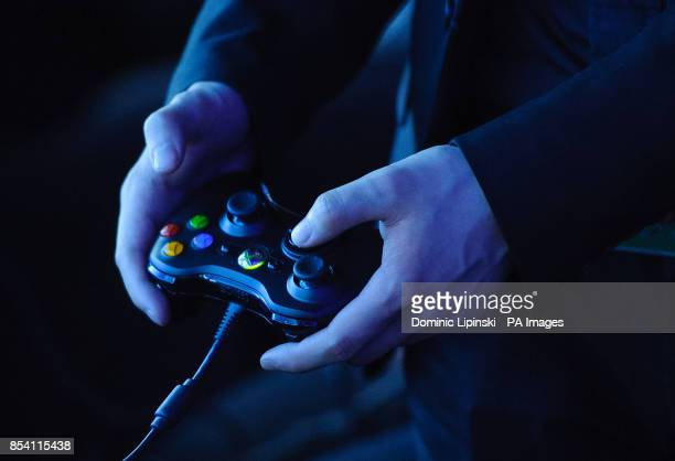 A man holds an Xbox 360 controller at a preview event for Star Trek the Video Game at the Science Museum in central Lodnon