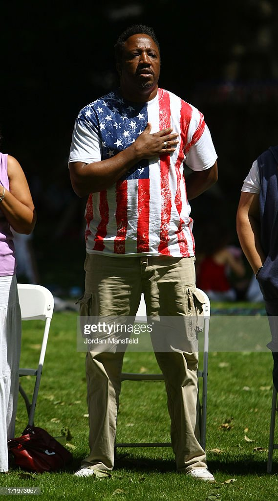 A man holds his hand to his chest during a rendition of The Star-Spangled Banner on June 30, 2013 in London, England. American Democrats living in London gather in Portman Square for the largest Independence Day celebration in London ahead of the American federal holiday on the 4th July which commemorates the Declaration of Independence on July 4, 1776 which declared them the USA free from the Kingdom of Great Britain.