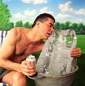 Man hugging block of ice