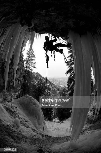 Man Ice Climbing Pirate's Cove in Colorado, Black and White