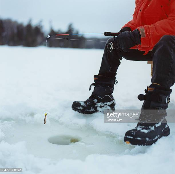 Man Ice Fishing