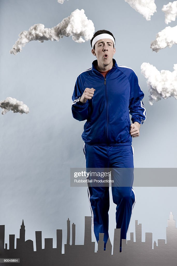 man in a blue tracksuit
