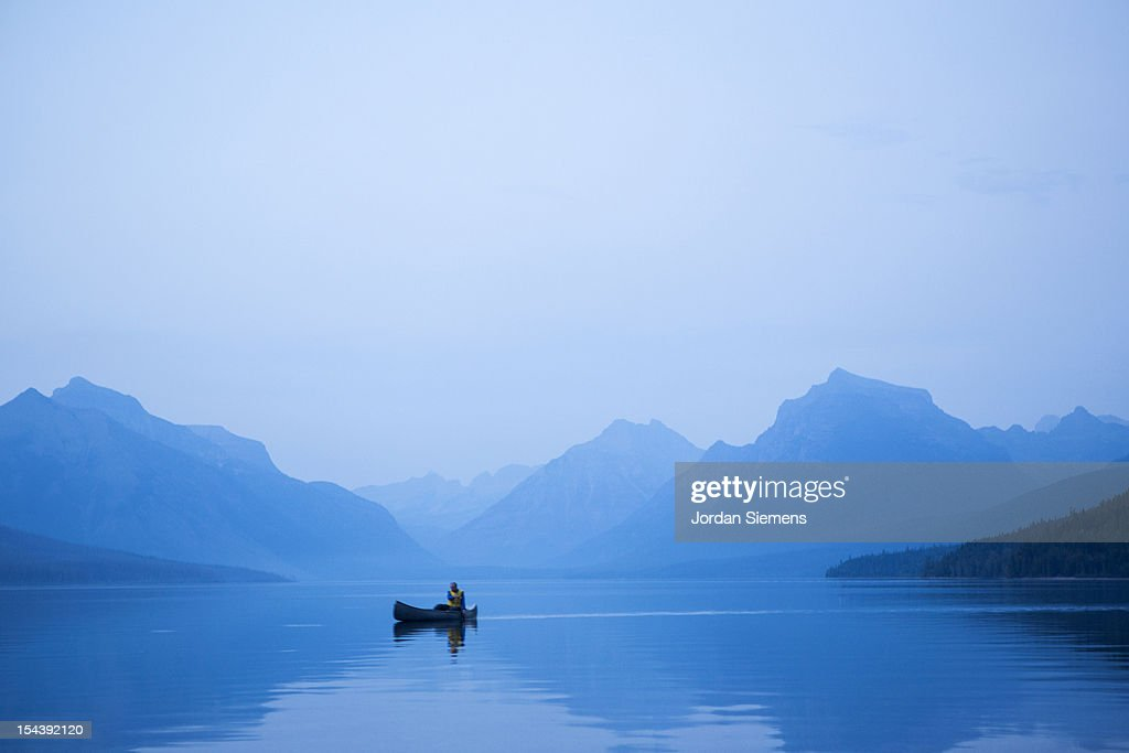 A man in a canoe. : Stock Photo