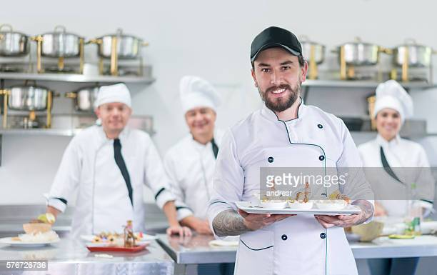 Man in a cooking class