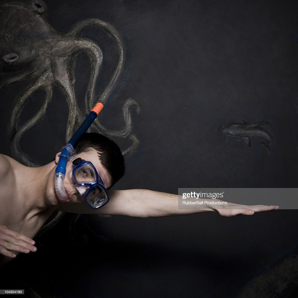 man in a mask and snorkel : Stock Photo