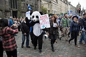 A man in a panda costume marching down the Royal Mile during a proIndependence march and rally in the Scottish capital The event which was staged in...