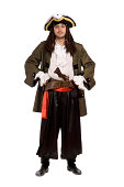 Young man in a pirate costume with pistol. Isolated on white