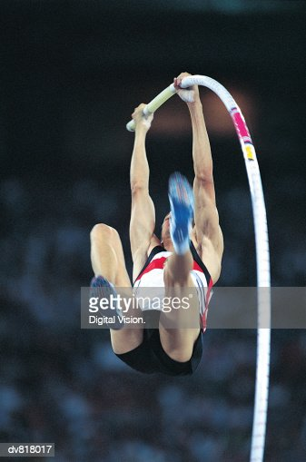 Man in a Pole Vault Competition
